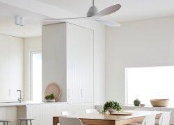 Weiss, elegant, energiesparend und leise – der neue Deckenventilator für Puristen